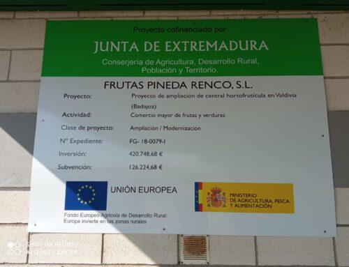 FRUTAS PINEDA RENCO, S.L. finaliza la Fase III de su proyecto de ampliación con el apoyo de la JUNTA DE EXTREMADURA que lo subvenciona.